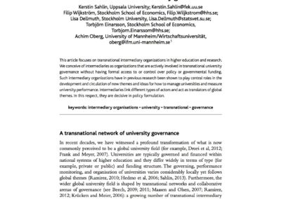 The 'Milky Way' of intermediary organisations: a transnational field of university governance
